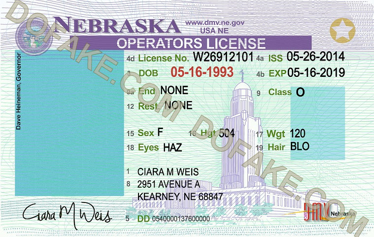 Nebraska Fake ID Template Large